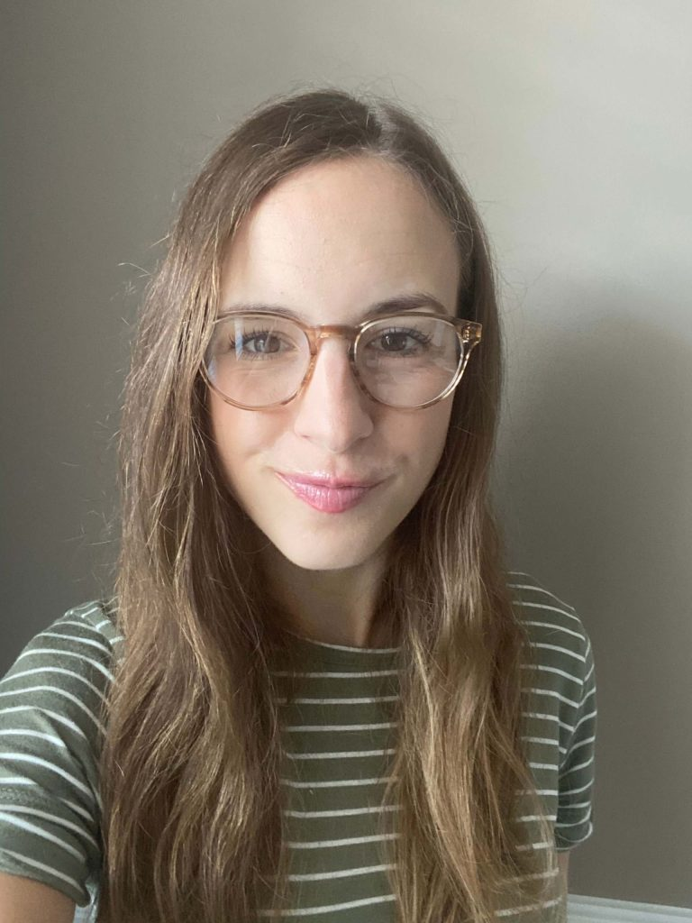 Percey blue light glasses in Chestnut Crystal, narrow - Try on ethically made blue light glasses from Warby Parker at home!  |  Fairly Southern