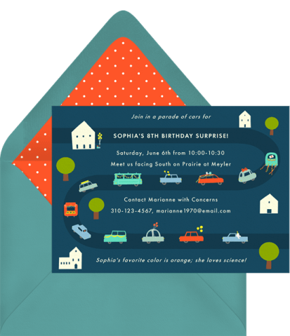 Car Parade invitation by Greenvelope | Fairly Southern