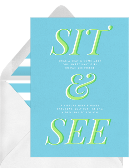 Sit & See virtual meet and greet invitation by Greenvelope | Fairly Southern