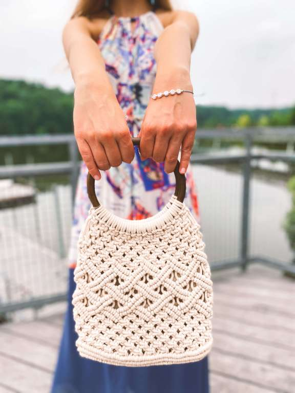 Macrame handbag - Vacation Outfit Inspiration | Belle + Blossom Review: Fair Trade, Sustainable Accessories and Lifestyle | Fairly Southern