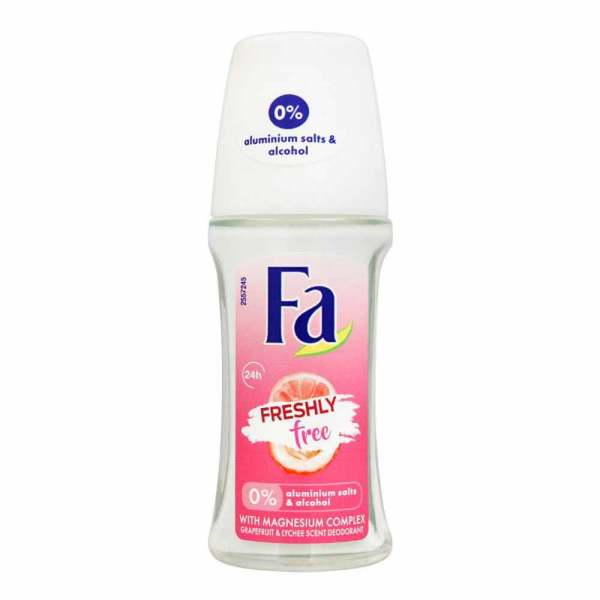 FA Freshly Free Grapefuit And Lychee Scent Deodorant Roll On 24H