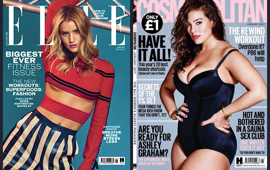 Elle & Cosmopolitan magazine covers (UK) January 2017 - Making women feel they're in the wrong body.