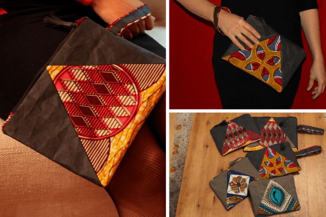 Täschen / Clutch aus einer Kombination von Afrikanischem Wax Print Stoff und Snappapp (veganes Leder)
