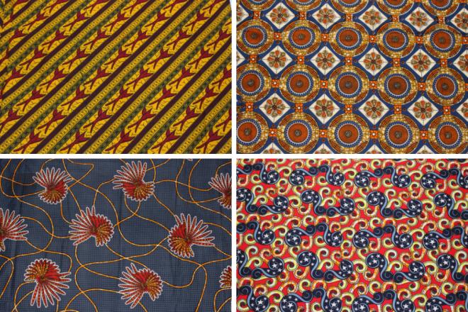 Auswahl an Afrikanischen Wax Print Stoffen in Blau- und Rottönen