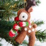 Felted Reindeer with Scarf Ornament