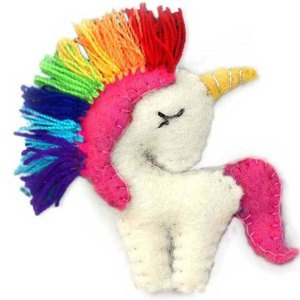 Felted Rainbow Unicorn Ornament