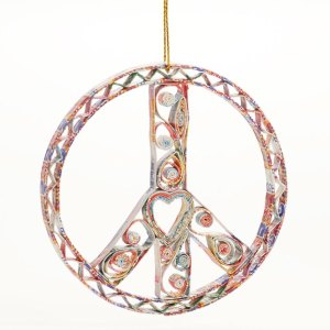Quilled Paper Heart Peace Wreath