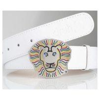 Druh White Leather Ostrich Pattern Belts w/ Lion Buckle - $145