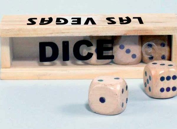 Custom Imprint 16mm 5pc Wood Dice Set in Box   3-4011-DI