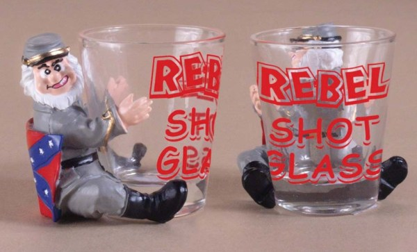 Rebel Shot Glass with Confederate Soldier Figurine   7-319-C