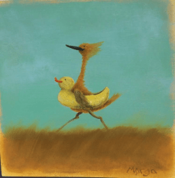 The Buddy System oil on panelboard.