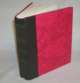 Hand made poppy journal, hand stitched leather binding.