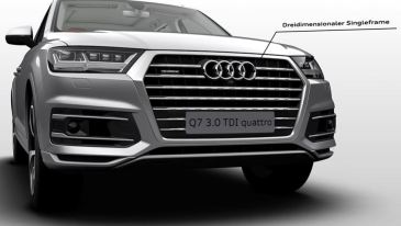 2nd Generation audi Q7 SUV headlamps and grille close view