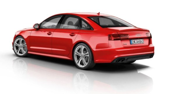 4th generation Audi A6 S6 sedan side and rear view beautiful red