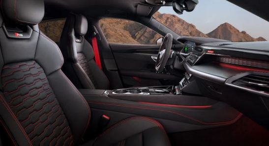 1st generation Audi E tron GT RS All Electric Sedan interior with red stitching