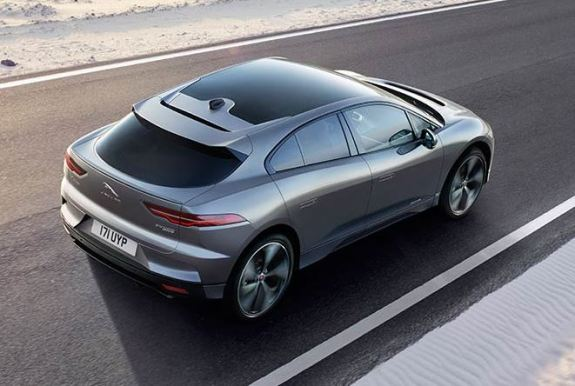 1st generation Jaguar i pace all Electric SUV beautiful upside view