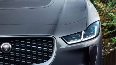 1st generation Jaguar i pace all Electric SUV headlamp view