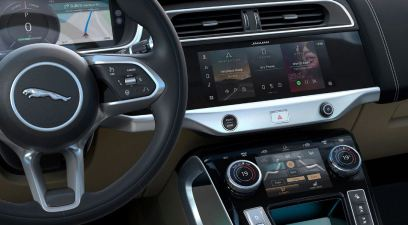 1st generation Jaguar i pace all Electric SUV infotainment screen view