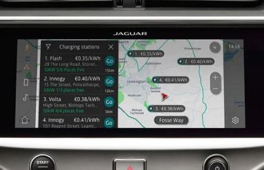 1st generation Jaguar i pace all Electric SUV navigation with charging stations view