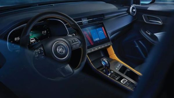 3rd generation mg6 pro sedan steering wheel and infotainment screen view