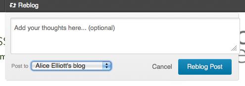 Reblog tab menu in WordPress.com