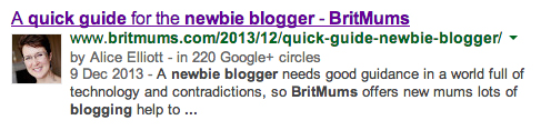 Rich snippet showing Google Authorship for Alice Elliott