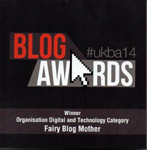 National UK Blog Awards plaque