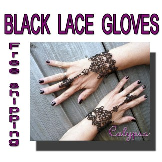 Black lace gloves Calypso