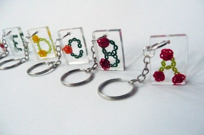 Personalized keychain tatting letter and tiny roses