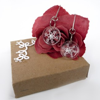 Transparent earrings White Snowflakes, tatting in resin