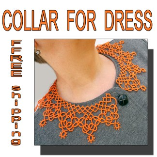 Orange collar necklace for dress