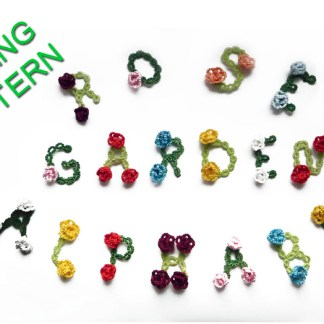 Rose garden alphabet, tatting pattern, lace letters with 3D roses