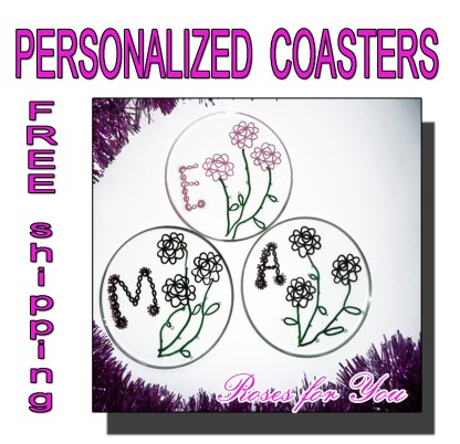 Personalized coasters Roses for You