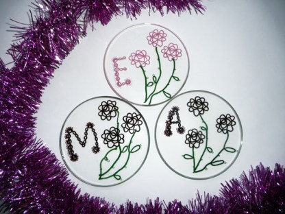 Personalized coasters for women, tatting in resin