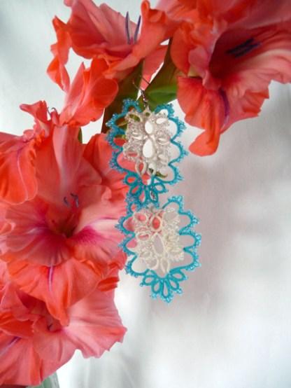 Earrings Cloud Gate, tatting jewelry