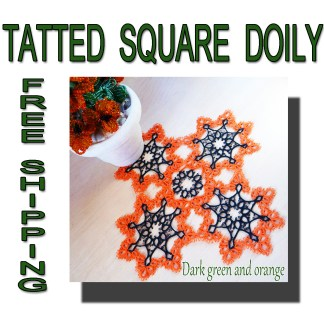 Tatting orange green doily