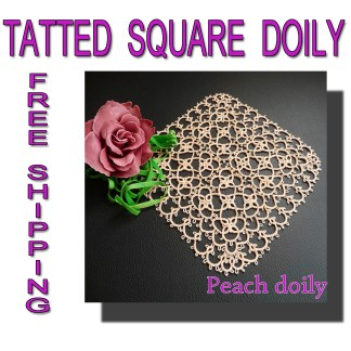 Tatting square Peach doily