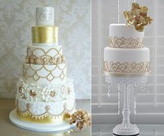 Gatsby theme wedding cakes from Pinterest (left) and Barney's Bakery (right)