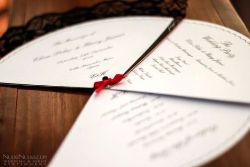 Spanish Wedding Theme - Fan Order of Service | Wedding and Party Invitations and Stationery by NulkiNulks.com