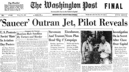 THE WASHINGTON POST REPORTS UFO CHASE BY USAF