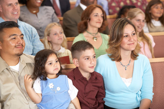 Picture of Family Sitting in Church
