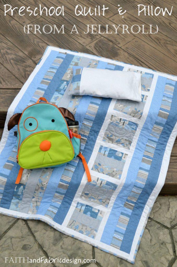 Preschool Jellyroll Quilt with Matching Pillowcase