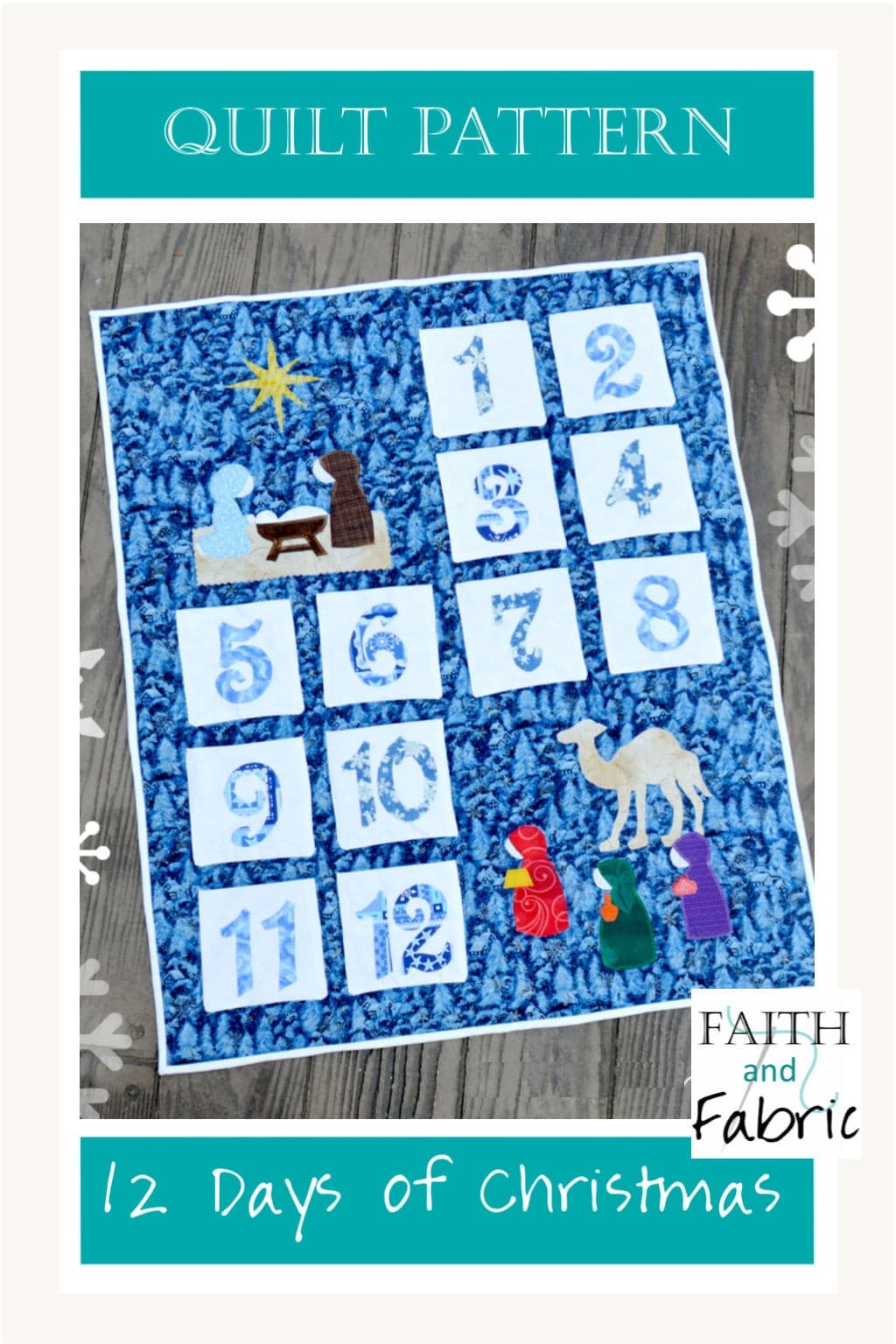 This interactive quilt creates twelve pockets, ready to be filled with sweet treats during the 12 Days of Christmas! Created by Faith and Fabric.