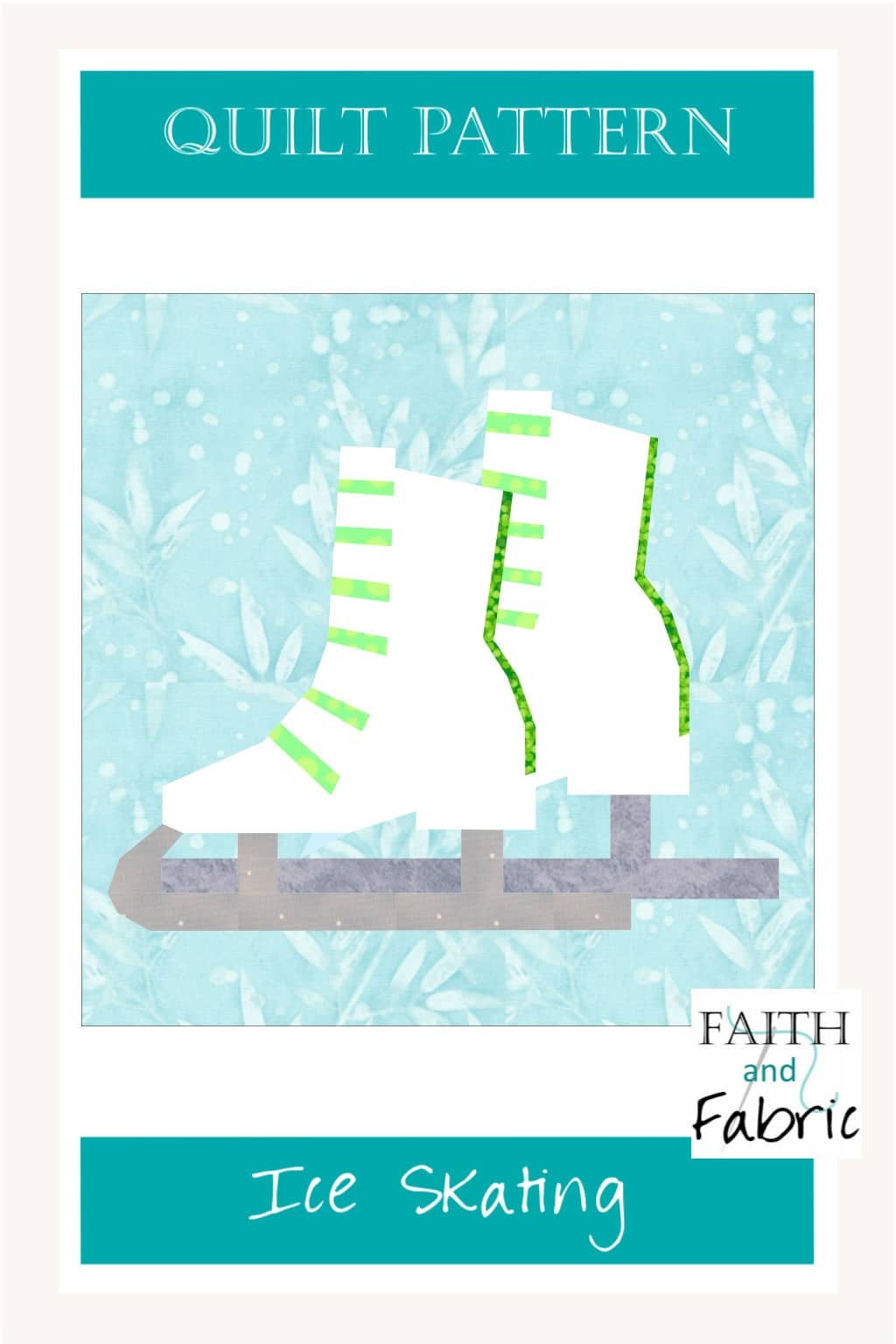 This quilt is ready for winter! With ice skates made either for the ice rink or for a game of ice hockey, your colors will transform them to whatever you like! Created by Faith and Fabric