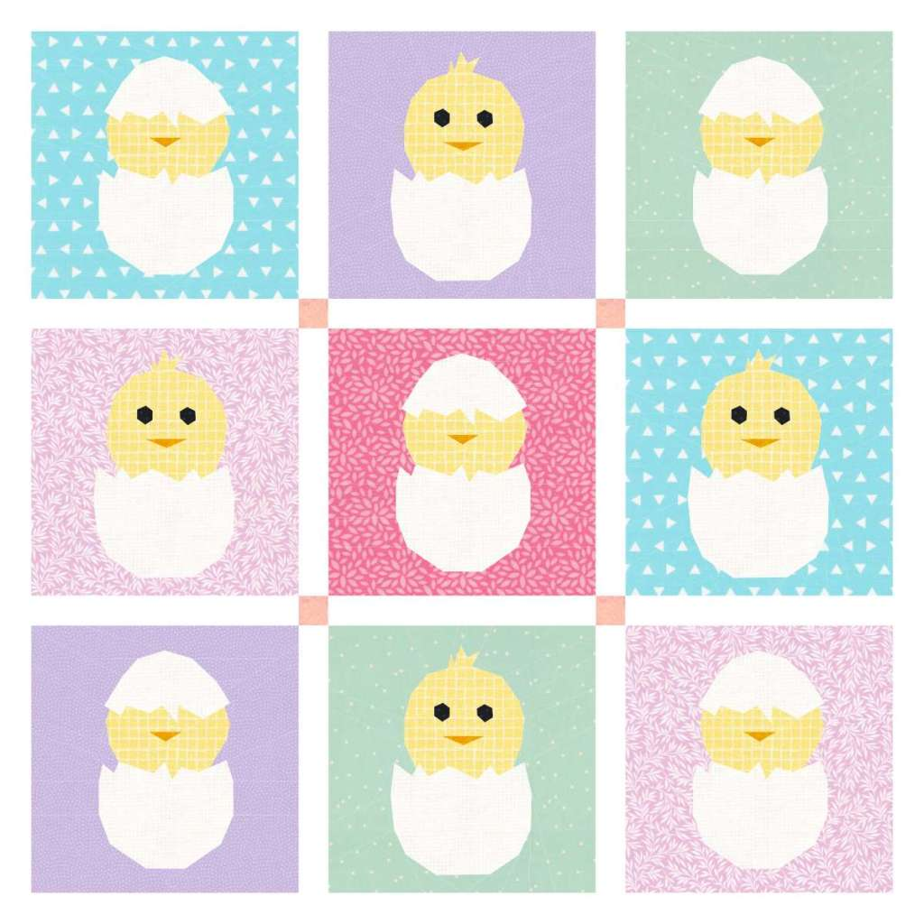 This Easter quilt pattern is an easy way to share the fun of eggs and chicks with pops of spring color!