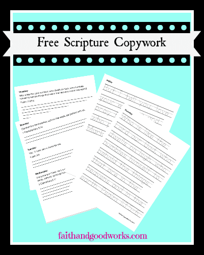 Scripture Copywork for Morning Devotional Time with Keys for Kids