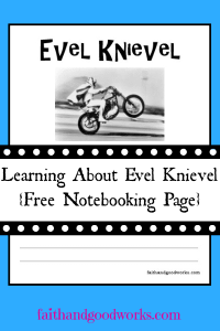 Evel Knievel Notebooking Page