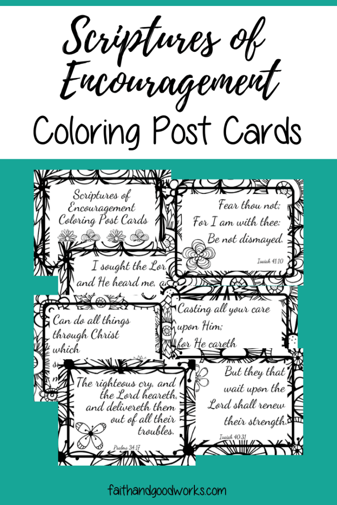 Scripture Coloring Postcards