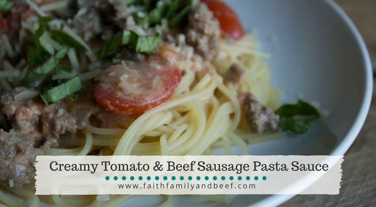 Creamy Tomato & Beef Sausage Pasta Sauce
