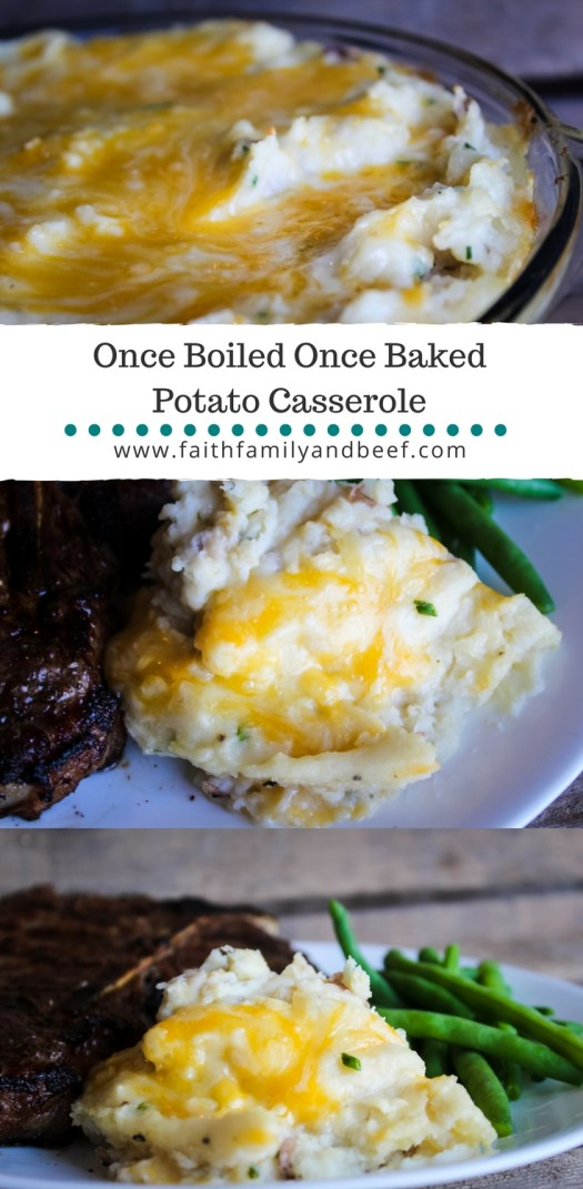 Once Boiled Once Baked Potato Casserole - an easier yet equally delicious alternative to twice baked potatoes.